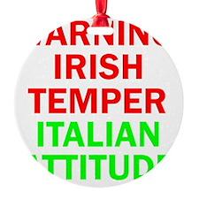 WARNINGIRISHTEMPER ITALIAN ATTITUDE Ornament