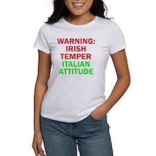 WARNINGIRISHTEMPER ITALIAN ATTITUD Tee