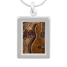 Acoustic guitar journal Silver Portrait Necklace