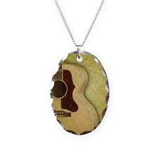 Acoustic guitar journal Necklace Oval Charm