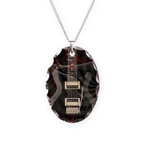 Electric guitar journal Necklace Oval Charm