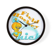 Field Hockey Chick Wall Clock