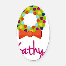 Christmas-wreath-Kathy Oval Car Magnet