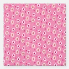 """Daisies on Pink Square Car Magnet 3"""" x 3"""""""