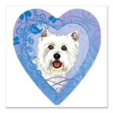 "westie-heart Square Car Magnet 3"" x 3"""
