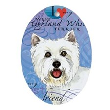 westie-iPad Oval Ornament