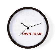 BBQ apron disclaimer white cp Wall Clock