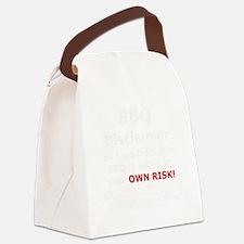BBQ apron disclaimer white cp Canvas Lunch Bag