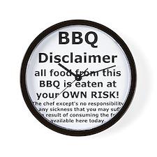BBQ apron disclaimer black cp Wall Clock