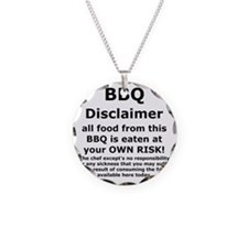 BBQ apron disclaimer black c Necklace