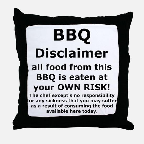 BBQ apron disclaimer black cp Throw Pillow