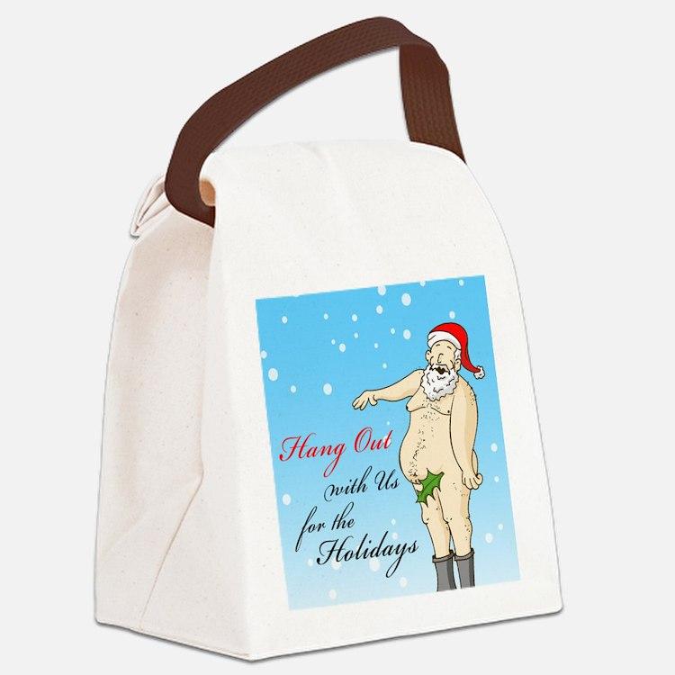 Santa- Hang Out Card Canvas Lunch Bag
