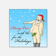 "Santa- Hang Out Card Square Sticker 3"" x 3"""