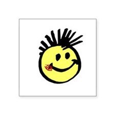 Smiley Face with Mohawk Rectangle Sticker