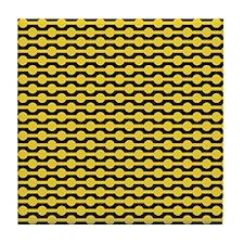 Retro Yellow Beads Tile Coaster