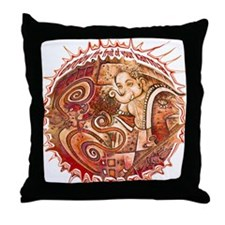 red ganesh in white Throw Pillow