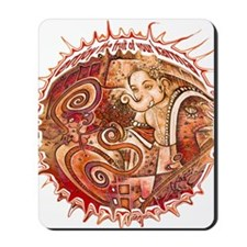 red ganesh in white Mousepad