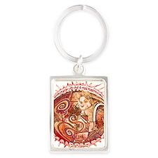 red ganesh in white Portrait Keychain