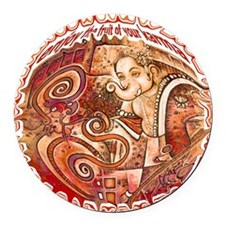 red ganesh in white Round Car Magnet