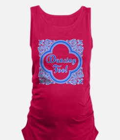 Dancing Fool in Blue and White Maternity Tank Top