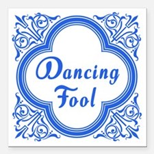 """Dancing Fool in Blue and Square Car Magnet 3"""" x 3"""""""