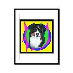 Colorful Australian Shepherd Framed Panel Print