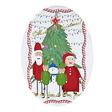 Claus Family Portrait Oval Ornament
