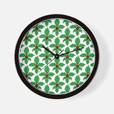 FleurHollyLeafSq Wall Clock