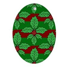 FleurHollyLfStpP5x8jr Oval Ornament
