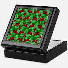 FleurHollyLfPtStFlipf Keepsake Box