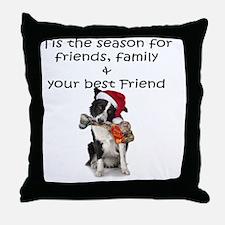border collie christmas message Throw Pillow