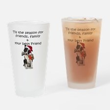 border collie christmas message Drinking Glass