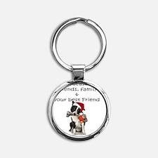 border collie christmas message Round Keychain