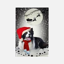 Border Collie Christmas Wishes Rectangle Magnet