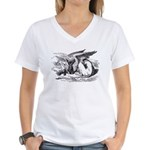 Sleeping Gryphon Women's V-Neck T-Shirt