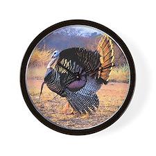 Wild turkey gobbler Wall Clock
