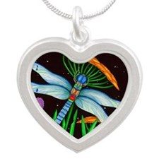 DRAGONFLY AT REST Silver Heart Necklace