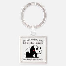 Peaceful Panda Square Keychain