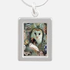 Owls Silver Portrait Necklace