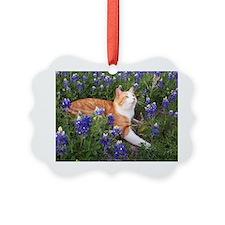 Cat In Bluebonnets Ornament