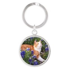 Cat In Bluebonnets Round Keychain