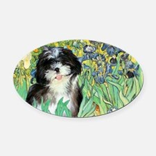 Irises - Shih Tzu 12 Oval Car Magnet