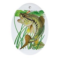 Largemouth Bass with Lily Pads copy Oval Ornament