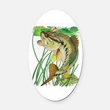 Largemouth Bass with Lily Pads cop Oval Car Magnet