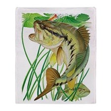 Largemouth Bass with Lily Pads copy Throw Blanket