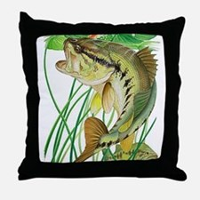 Largemouth Bass with Lily Pads copy Throw Pillow