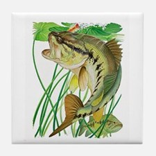 Largemouth Bass with Lily Pads copy Tile Coaster