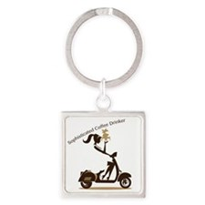 Sophisticated Coffee Drinker Square Keychain