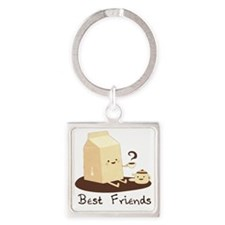 Milk and Coffee - Best Friends Square Keychain