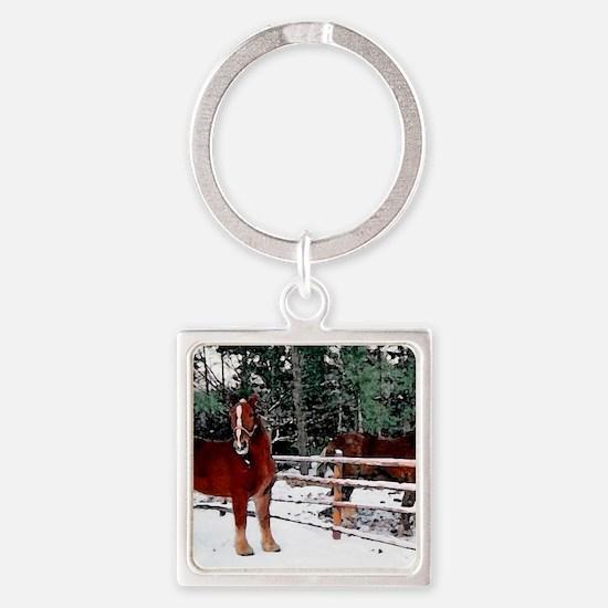 Horses Square Keychain
